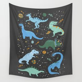 Dinosaurs in Space in Blue Wall Tapestry