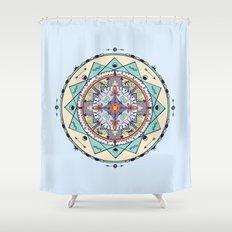 Time and Light Native Shapes Mandala Shower Curtain