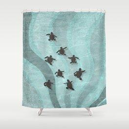Loggerhead sea turtle hatchlings Shower Curtain
