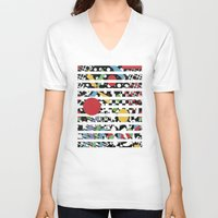 tape V-neck T-shirts featuring Ticker Tape by Patricia Shea Designs