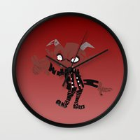 soul eater Wall Clocks featuring little demon soul eater by Rebecca McGoran