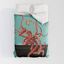 Giant Squid in Bathtub Comforters