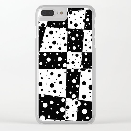 Holes In Black And White Clear iPhone Case