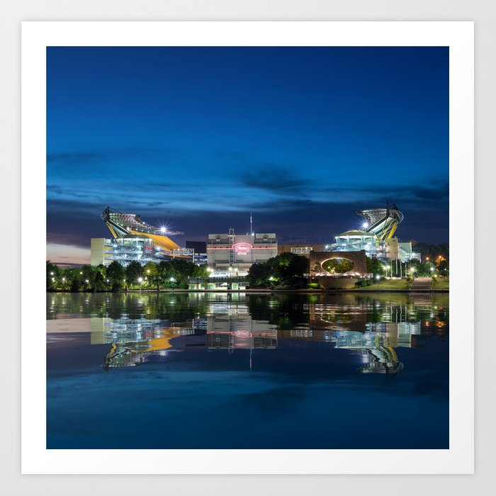 Heinz Field at night - Pittsburgh NFL stadium Art Print
