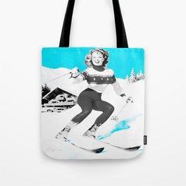 Snow Bunny Pin Up Girl Turquoise Tote Bag