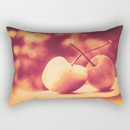 Sweet Moment (Rainier Cherries with Gold & Wine Red Bokeh Background) Rectangular Pillow