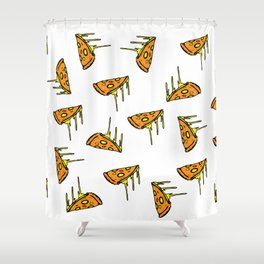 Pepperoni Pizza Dripping Cheese by the Slice Pattern Shower Curtain