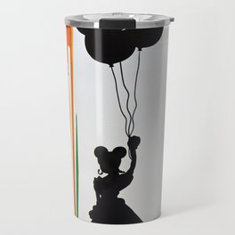 Mouse Ear Girl With Ballons & Dripping Paint Rain Travel Mug