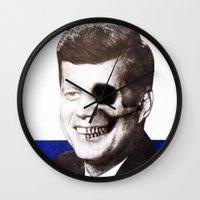 jfk Wall Clocks featuring JFK SKULL PORTRAIT by Joedunnz