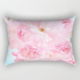 Soft Blue Sky with Pink Peonies Rectangular Pillow