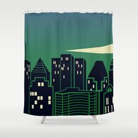 montreal Shower Curtains featuring Montreal Skyline by Wheel of Fortune