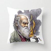 darwin Throw Pillows featuring Darwin by ElenaTerrin