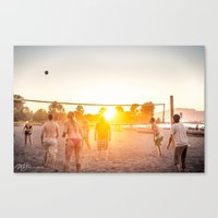 volleyball Canvas Prints featuring Sunset Volleyball by MJ Blanchet