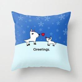Sweet Deer Holiday Greetings Throw Pillow