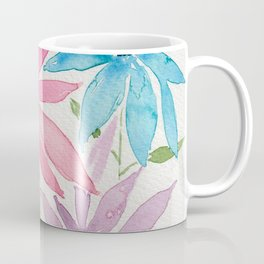 Trio of Pink, Blue and Purple Poinsettia style Abstract Watercolor Flowers Coffee Mug