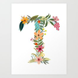 Monogram Letter T Art Print
