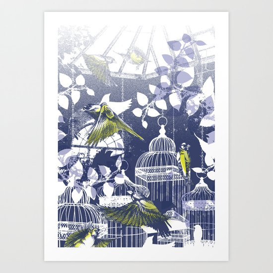 Green Finch Green House Art Print