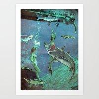 sharks Art Prints featuring Sharks by Ben Giles