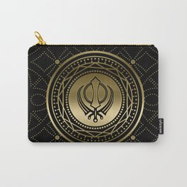 Decorative Khanda symbol gold on black Carry-All Pouch