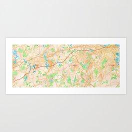 Boston marathon route on watercolor map in orange Art Print