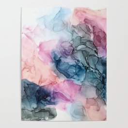 Heavenly Pastels: Original Abstract Ink Painting Poster