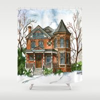 victorian Shower Curtains featuring Victorian Winter by Shelley Ylst Art