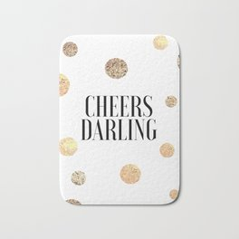CHEERS DARLING GIFT, Wedding Quote,Anniversary Print,Gold Confetti,Cheers Sign,Champagne Quote,Celeb Bath Mat