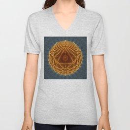Mandala of Radiant Abundance (grey-gold) Unisex V-Neck