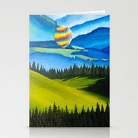 hot air balloons Stationery Cards featuring Acrylic Hot Air Balloons by Megan White