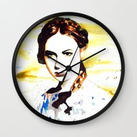 karen hallion Wall Clocks featuring Karen Gillan (Amy Pond) by TheJollyRambler