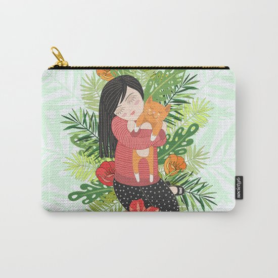 Girl and cat Carry-All Pouch