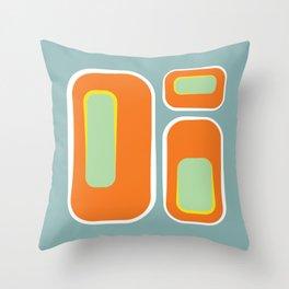 Mod Pod -Retro Turquoise Orange Throw Pillow