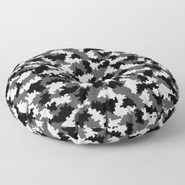 Camouflage Digital Black and White Floor Pillow