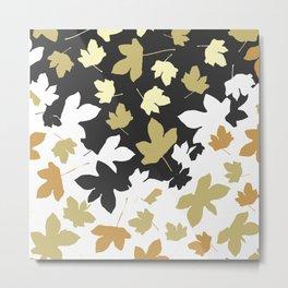 Christmas holiday autumn mood. gold, black, white. fall leaves. Metal Print