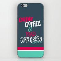 john green iPhone & iPod Skins featuring Coffee and John Green by Chelsea Herrick