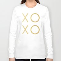 gold glitter Long Sleeve T-shirts featuring Gold Glitter XOXO by Fancy Designs