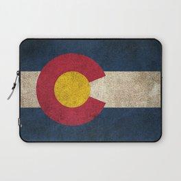 Old and Worn Distressed Vintage Flag of Colorado Laptop Sleeve