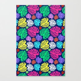 Simply Monstera in Multi + Navy Canvas Print