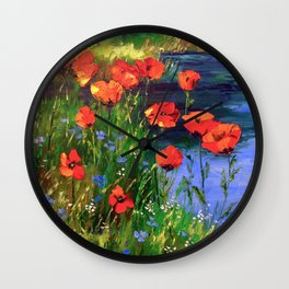 Poppies at the pond Wall Clock