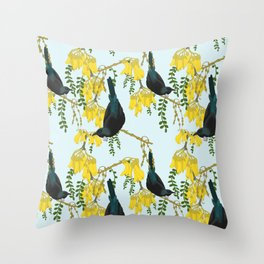 Tuis in the Kowhai Flowers Throw Pillow