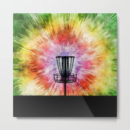 Tie Dye Disc Golf Basket Metal Print