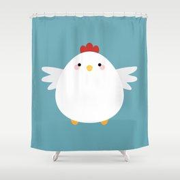 White Chicken Shower Curtain