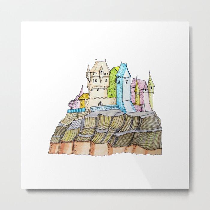 fairytale castle on a cliff Metal Print