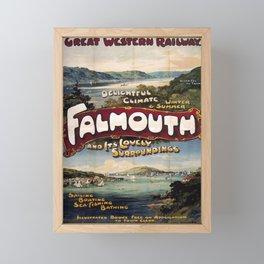 retro  GWR Falmouth vintage poster Framed Mini Art Print