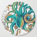 Teal Octopus Tentacles Vintage Map Nautical by eveystudios