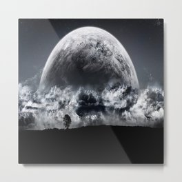 Giant Moon through the clouds Metal Print