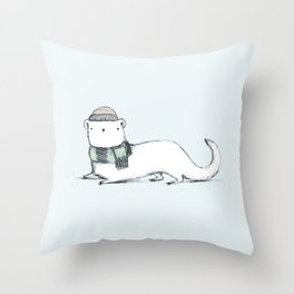 Ermine in Hat & Scarf Throw Pillow