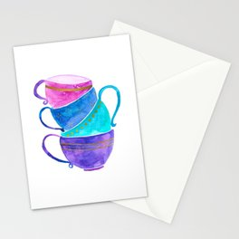 Stacked teacups Stationery Cards