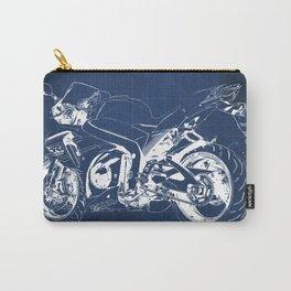 Suzuki motorcycle blueprint, white line, blue vintage background Carry-All Pouch