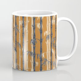 Bamboo Forest Pattern - Rust Tan Blue Coffee Mug